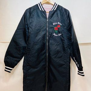 Sweat crew satin embroidered bomber trench jacket